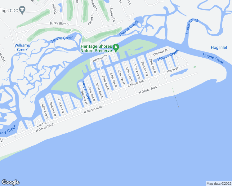 map of restaurants, bars, coffee shops, grocery stores, and more near 211 54th Avenue North in North Myrtle Beach