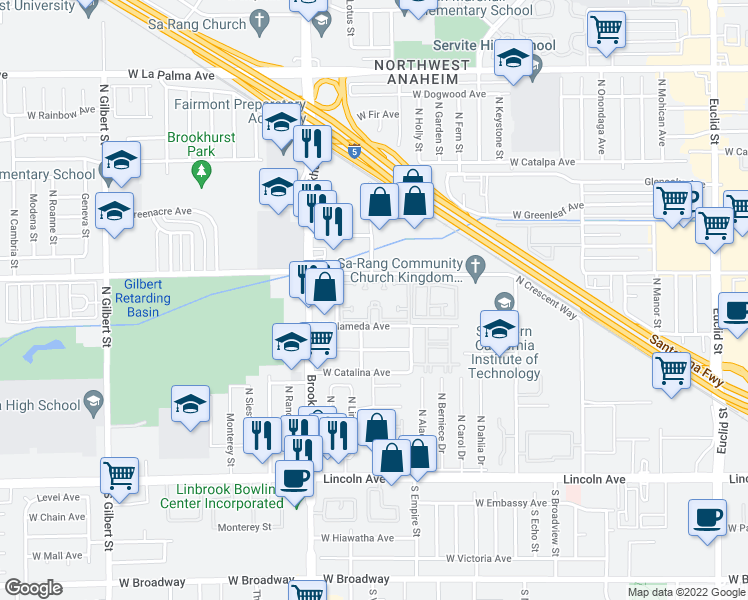map of restaurants, bars, coffee shops, grocery stores, and more near 2130 Crescent Avenue in Anaheim