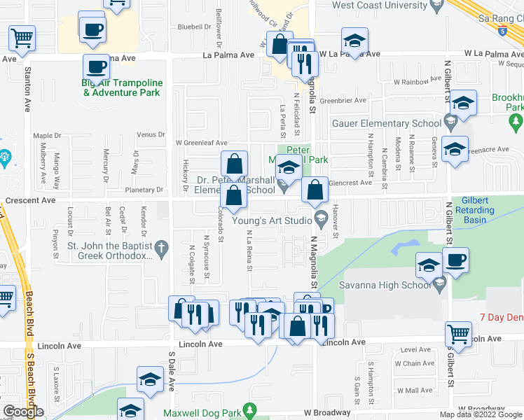 map of restaurants, bars, coffee shops, grocery stores, and more near 2672 West Stockton Avenue in Anaheim
