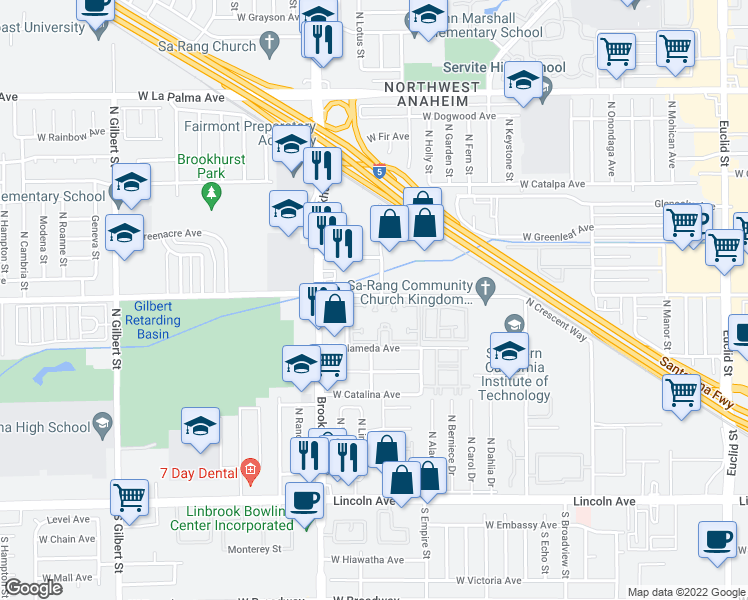 map of restaurants, bars, coffee shops, grocery stores, and more near 2130 West Crescent Avenue in Anaheim