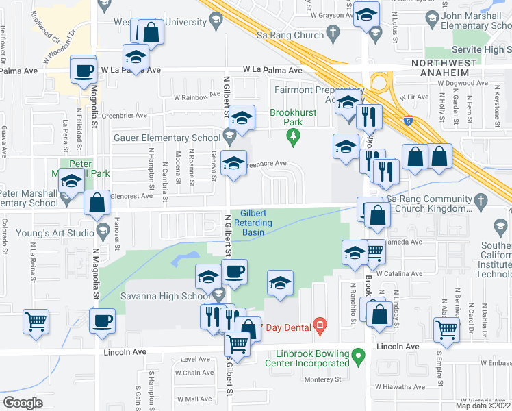 map of restaurants, bars, coffee shops, grocery stores, and more near 2375 West Crescent Avenue in Anaheim