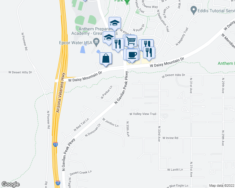 map of restaurants, bars, coffee shops, grocery stores, and more near 39148 North Acadia Way in New River