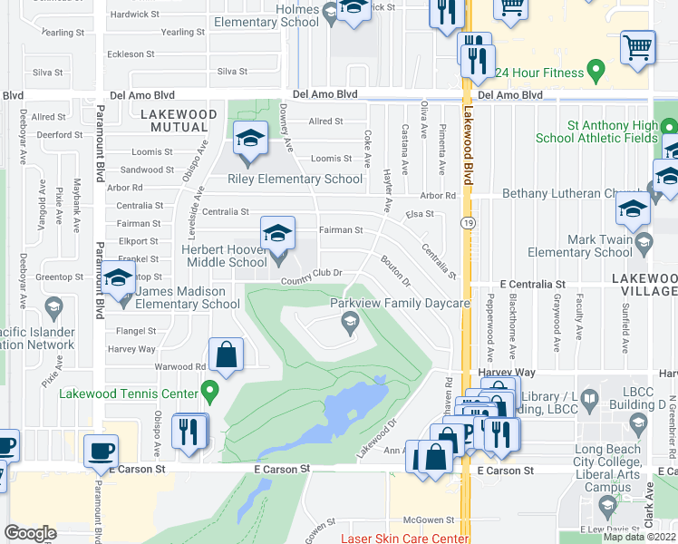 map of restaurants, bars, coffee shops, grocery stores, and more near Country Club Drive in Lakewood