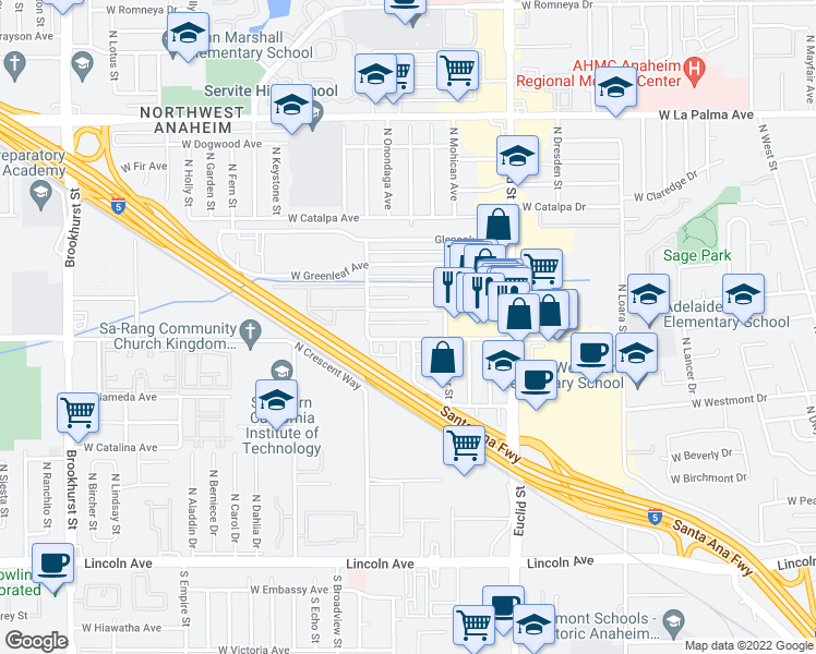 map of restaurants, bars, coffee shops, grocery stores, and more near 1800 West Glencrest Avenue in Anaheim