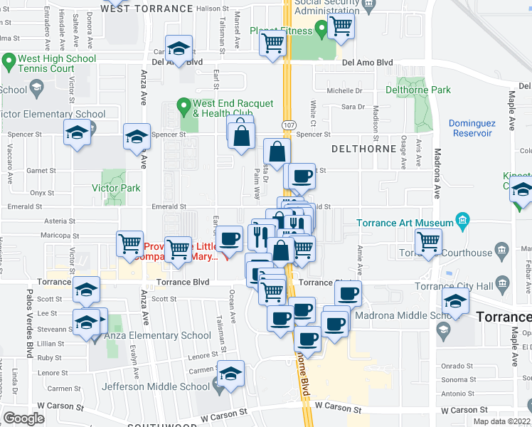map of restaurants, bars, coffee shops, grocery stores, and more near 3910 Emerald Street in Torrance