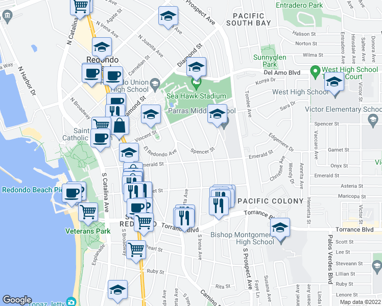 map of restaurants, bars, coffee shops, grocery stores, and more near 109 North Irena Avenue in Redondo Beach