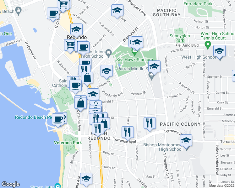 map of restaurants, bars, coffee shops, grocery stores, and more near 620 El Redondo in Redondo Beach