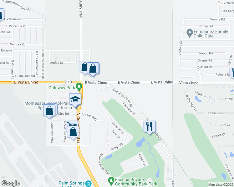 map of restaurants, bars, coffee shops, grocery stores, and more near Sadao Court in Palm Springs