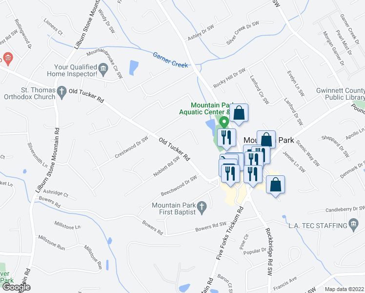 map of restaurants, bars, coffee shops, grocery stores, and more near 1100 Old Tucker Road in Stone Mountain