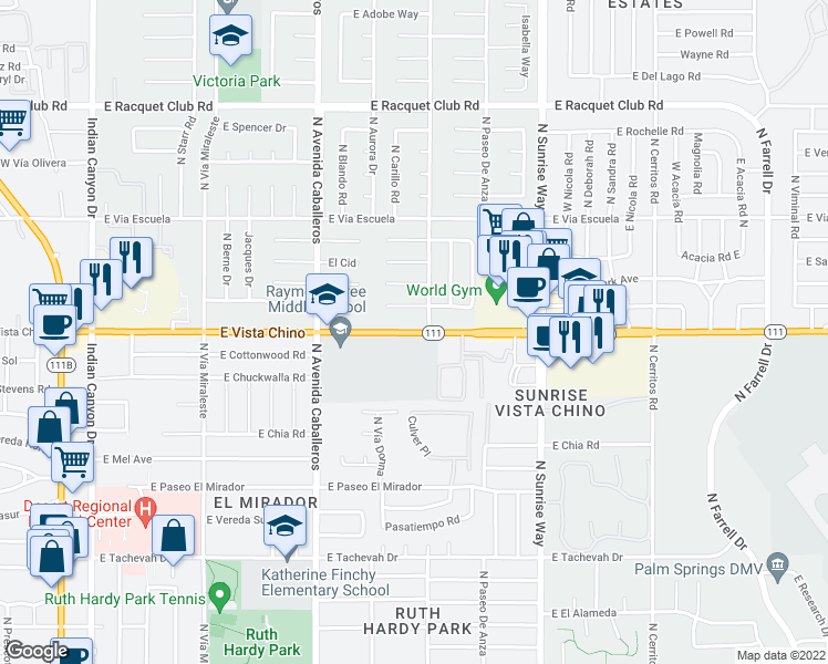 map of restaurants, bars, coffee shops, grocery stores, and more near 1055-1399 East Vista Chino in Palm Springs