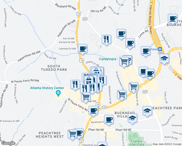 map of restaurants, bars, coffee shops, grocery stores, and more near 3315 Roswell Road in Atlanta
