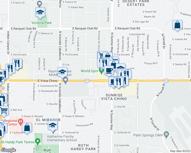 map of restaurants, bars, coffee shops, grocery stores, and more near 1453 East Caleta Way in Palm Springs