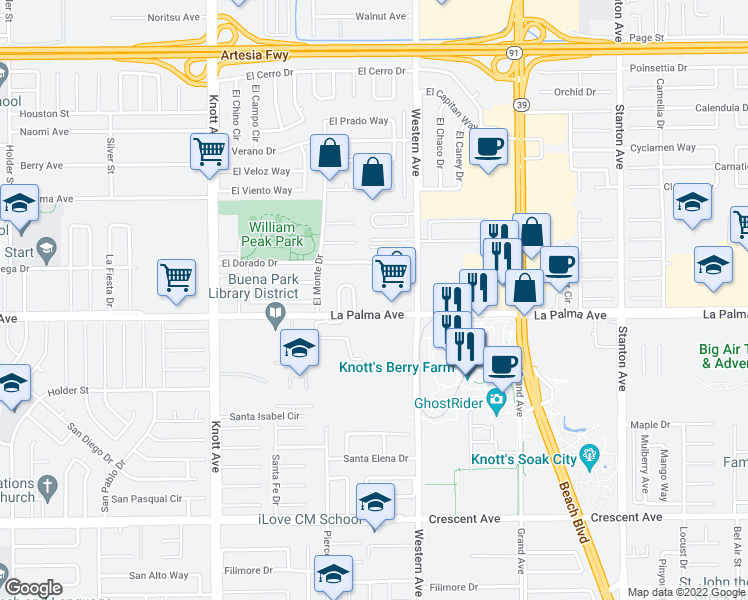 map of restaurants, bars, coffee shops, grocery stores, and more near 7377 La Palma Avenue in Buena Park