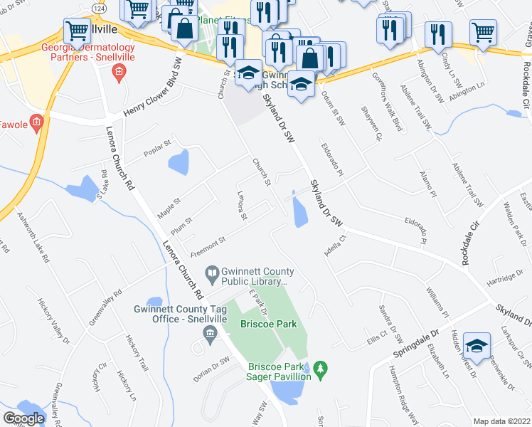 map of restaurants, bars, coffee shops, grocery stores, and more near 2711 Ravenwood Drive in Snellville