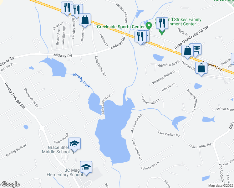 map of restaurants, bars, coffee shops, grocery stores, and more near 3542 Lake Carlton Road in Loganville