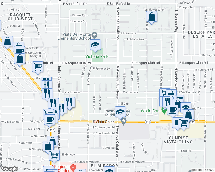 map of restaurants, bars, coffee shops, grocery stores, and more near 2160 North Roberto Drive in Palm Springs