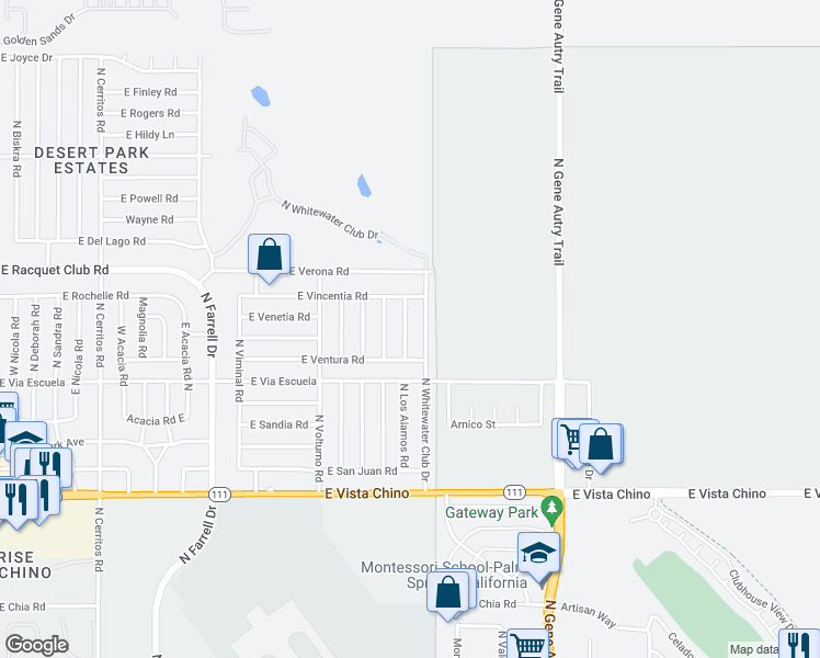 map of restaurants, bars, coffee shops, grocery stores, and more near 2330 North Los Alamos Road in Palm Springs