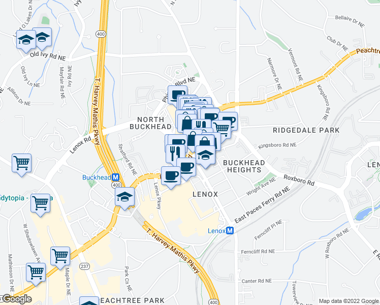 map of restaurants, bars, coffee shops, grocery stores, and more near Peachtree Rd NE & Lenox Rd NE in Atlanta