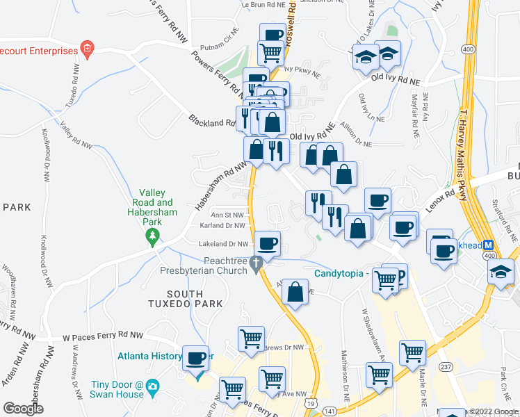 map of restaurants, bars, coffee shops, grocery stores, and more near 3501 Roswell Road in Atlanta