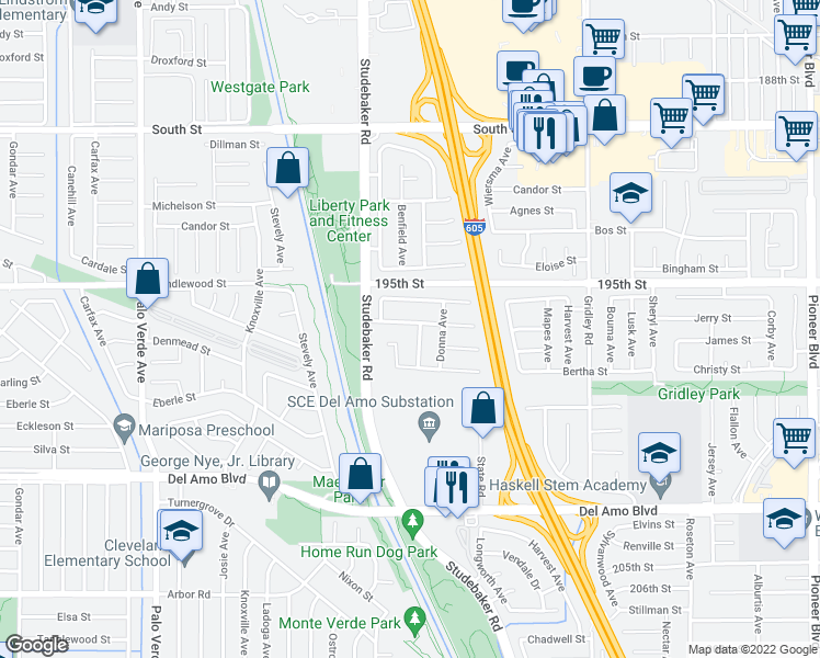 map of restaurants, bars, coffee shops, grocery stores, and more near 11046 Jerry Place in Cerritos