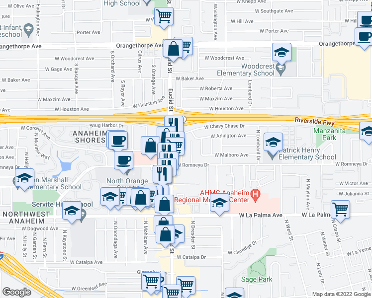 map of restaurants, bars, coffee shops, grocery stores, and more near 1231 North Dresden Place in Anaheim