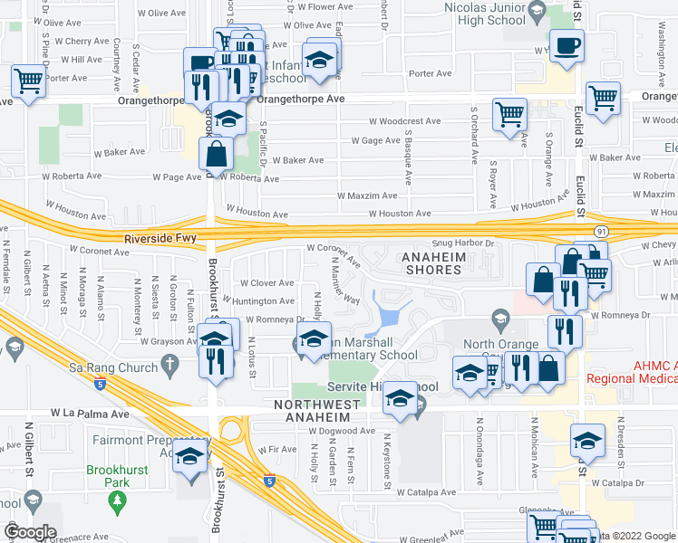 map of restaurants, bars, coffee shops, grocery stores, and more near 1360 North Mariner Way in Anaheim