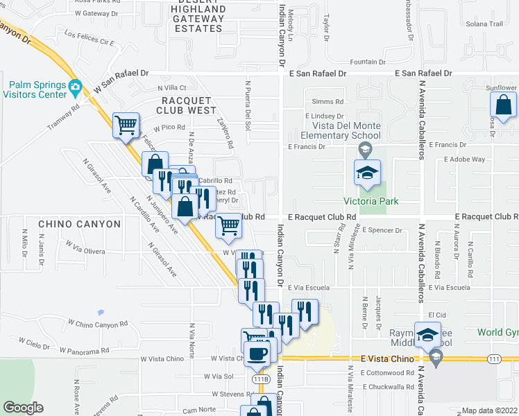 map of restaurants, bars, coffee shops, grocery stores, and more near 130 West Racquet Club Road in Palm Springs