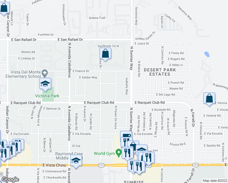 map of restaurants, bars, coffee shops, grocery stores, and more near 1493 East Gem Circle in Palm Springs