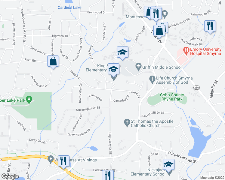 map of restaurants, bars, coffee shops, grocery stores, and more near 1068 Reed Road in Smyrna