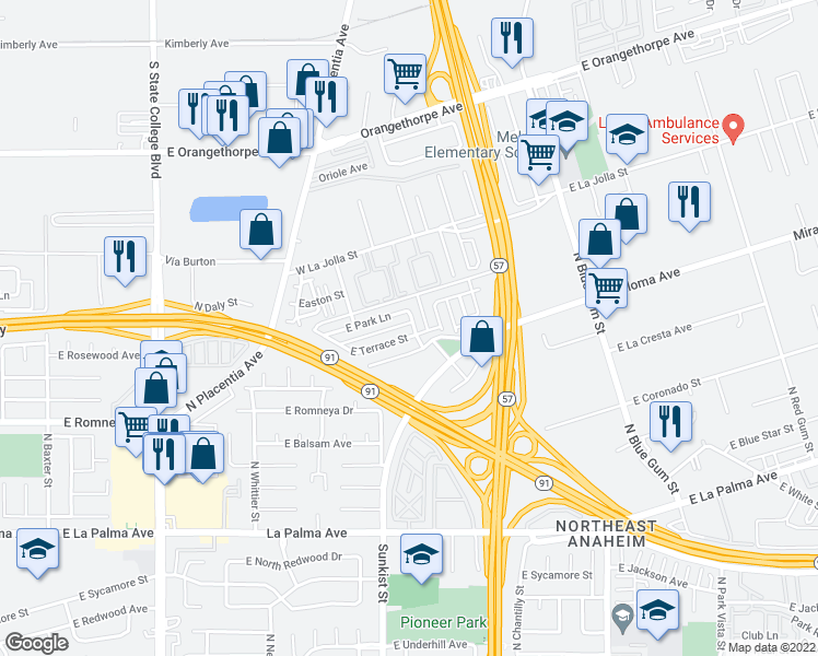 map of restaurants, bars, coffee shops, grocery stores, and more near 2561 East Terrace Street in Anaheim