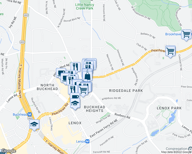 map of restaurants, bars, coffee shops, grocery stores, and more near 3645 Peachtree Road in Atlanta