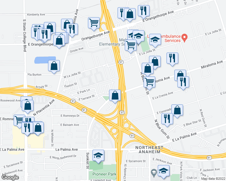 map of restaurants, bars, coffee shops, grocery stores, and more near 1308 North Fashion Lane in Anaheim