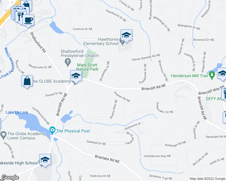 map of restaurants, bars, coffee shops, grocery stores, and more near Payton Rd NE & Glenbriar Dr NE in Atlanta