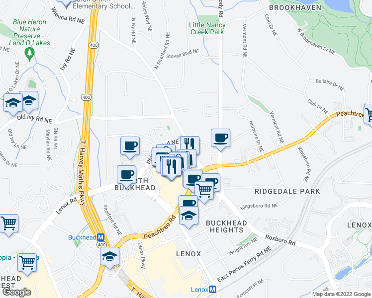 map of restaurants, bars, coffee shops, grocery stores, and more near 753 Park Avenue Northeast in Atlanta