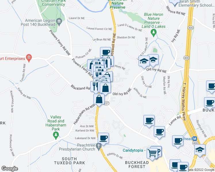 map of restaurants, bars, coffee shops, grocery stores, and more near 3655 Roswell Road Northeast in Atlanta