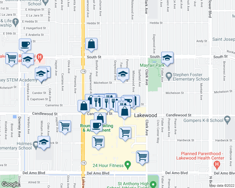 map of restaurants, bars, coffee shops, grocery stores, and more near 5438 Graywood Avenue in Lakewood