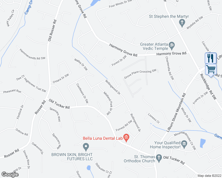 map of restaurants, bars, coffee shops, grocery stores, and more near 509 Rollingwood Drive in Stone Mountain