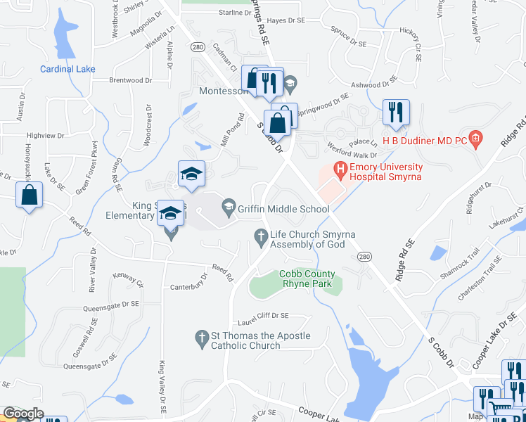 map of restaurants, bars, coffee shops, grocery stores, and more near 404 King Springs Village Parkway in Smyrna
