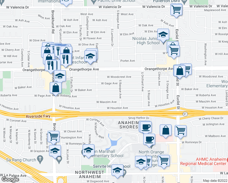 map of restaurants, bars, coffee shops, grocery stores, and more near 1418 West Baker Avenue in Fullerton