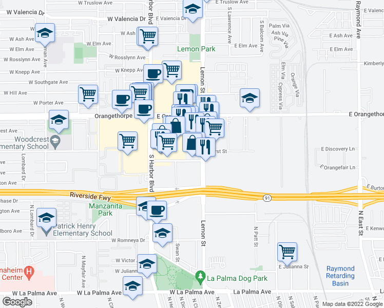 map of restaurants, bars, coffee shops, grocery stores, and more near 251 Orangefair Avenue in Fullerton
