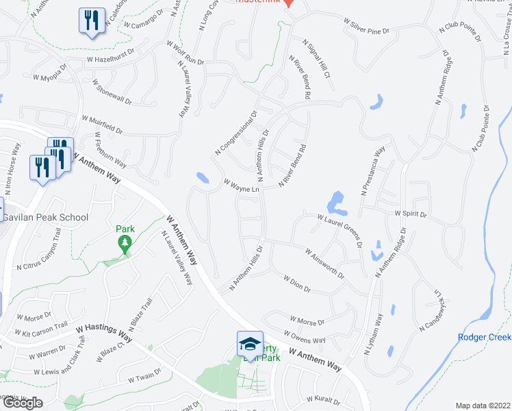 map of restaurants, bars, coffee shops, grocery stores, and more near 1901 West Whitman Court in Anthem