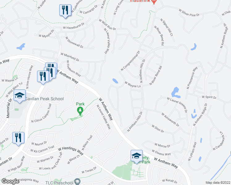map of restaurants, bars, coffee shops, grocery stores, and more near 41008 N Harbour Town Way in Anthem