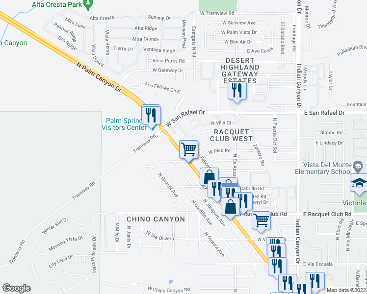 map of restaurants, bars, coffee shops, grocery stores, and more near 2825 North Los Felices Road in Palm Springs