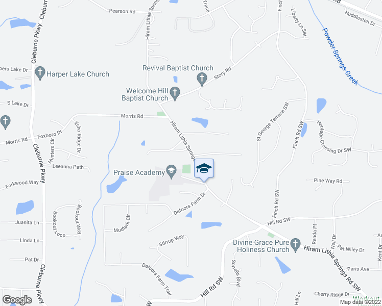 map of restaurants, bars, coffee shops, grocery stores, and more near 3976 Hiram Lithia Springs Road Southwest in Powder Springs