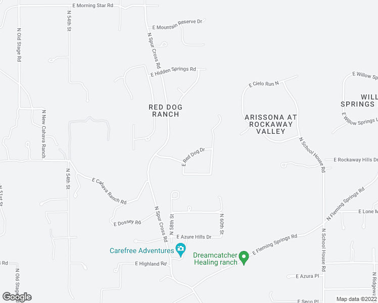 map of restaurants, bars, coffee shops, grocery stores, and more near 5872 East Red Dog Drive in Cave Creek
