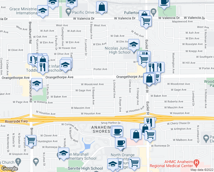 map of restaurants, bars, coffee shops, grocery stores, and more near 1300 West Woodcrest Avenue in Fullerton