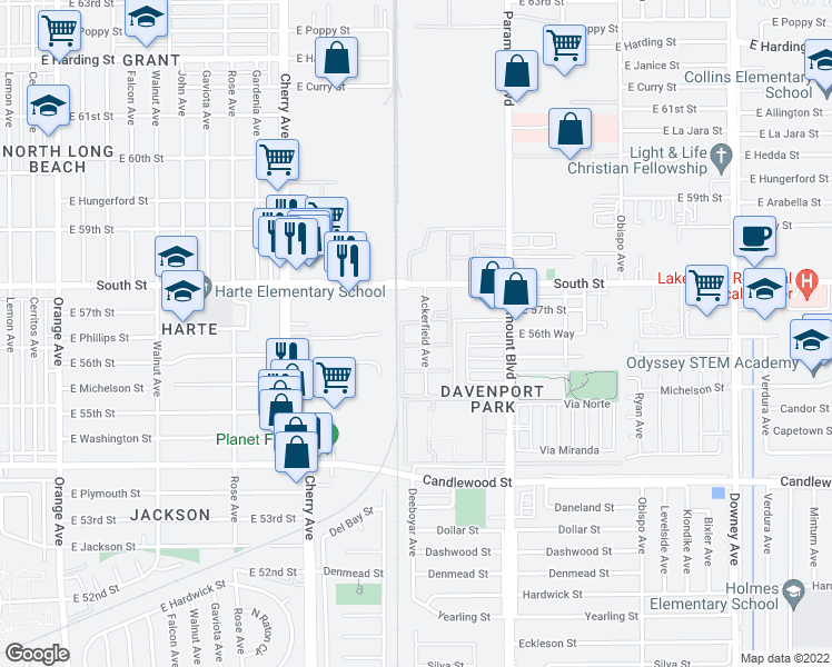map of restaurants, bars, coffee shops, grocery stores, and more near 5565 Ackerfield Avenue in Long Beach