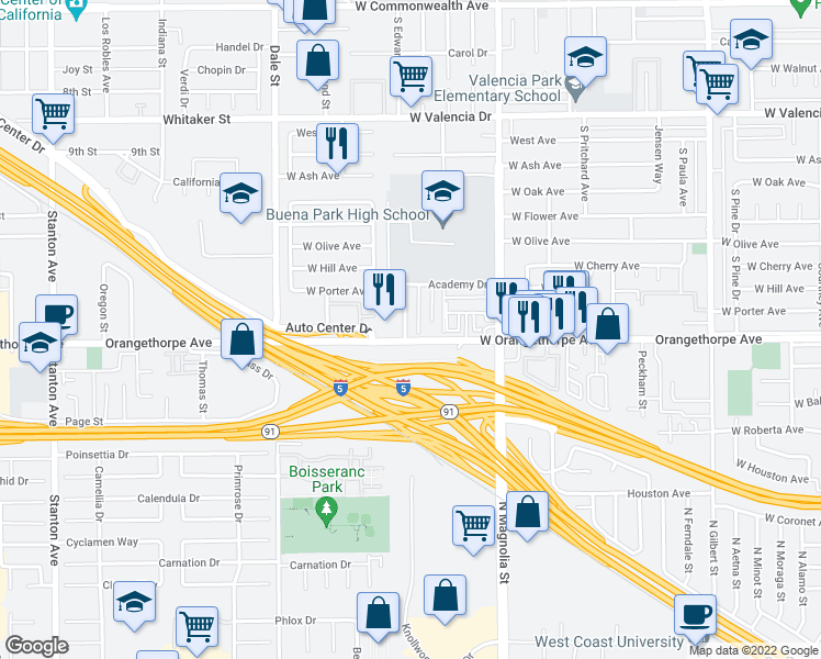 map of restaurants, bars, coffee shops, grocery stores, and more near 6968 Campus Drive in Buena Park