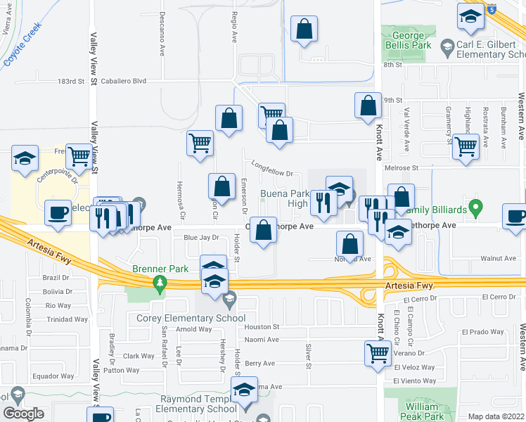 map of restaurants, bars, coffee shops, grocery stores, and more near 27 Revell Circle in Buena Park