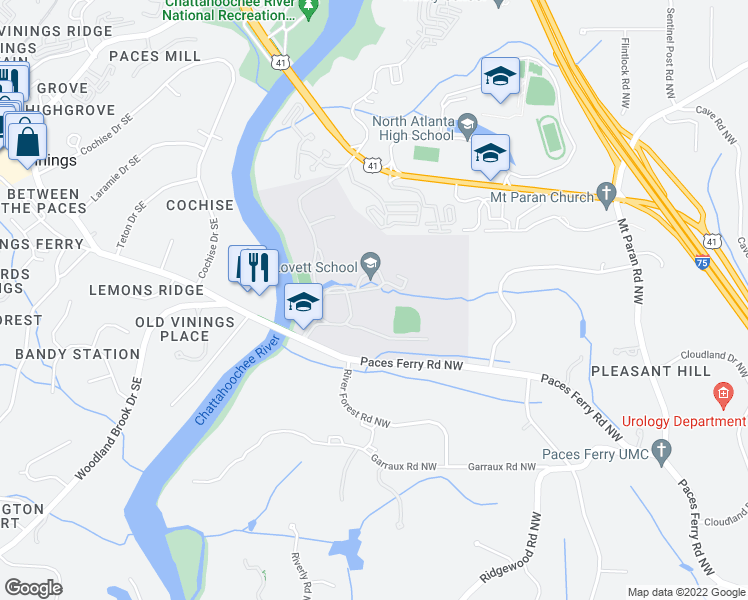 map of restaurants, bars, coffee shops, grocery stores, and more near Northgate Drive in Atlanta